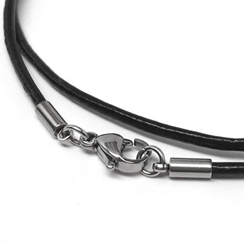 20 Inch Black Leather Necklace Cord (2mm) with Stainless Steel - Black Leather Necklace 2mm Cord