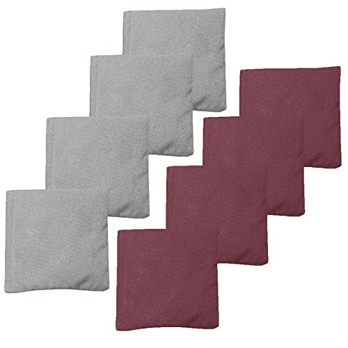 Weather Resistant Cornhole Bean Bags Set of 8 - Regulation Size & Weight - Burgundy & Gray