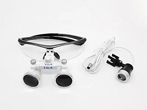 Ocean-Aquarius Black Surgical Binocular Loupes 3.5x 420mm Working Distance Optical Glass with LED Head Light Lamp+Aluminum Box black by Ocean-Aquarius (Image #3)