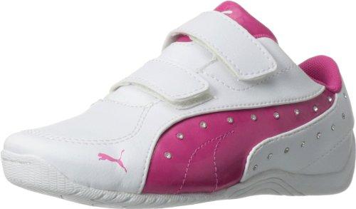 PUMA Drift Cat 5 Glamm D V Sneaker (Little Kid/Big Kid),White/Beetroot Purple,3.5 M US Big Kid ()