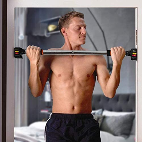 HANDZ Pull Up Push Up Doorway Home Gym Fitness Bar-Exercise Workout Bar – No Screws- No Tools- Secure Comfort Grips Adjustable Width Holds up to 300 LBS