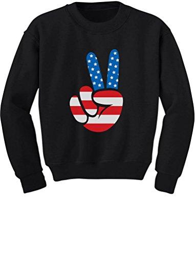 Tstars - American Flag Peace Sign 4th of July Toddler/Kids Sweatshirt 5/6 Black