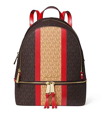27b9766cf62dc5 Jual MICHAEL Michael Kors Rhea Zip Medium Backpack (Brown/Bright Red ...