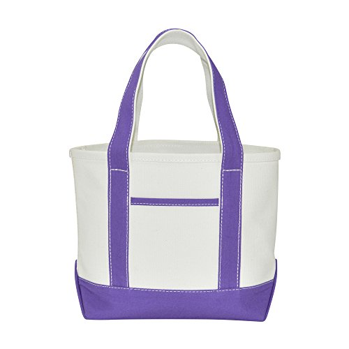 DALIX 14'' Mini Small Cotton Canvas Party Favor Wedding Gift Tote Bag in Purple by DALIX
