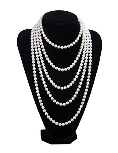 1920s Pearls Necklace Gatsby Accessories Vintage Costume Jewelry Faux Ivory Pearl Cream Long Necklace for Women (1A-White-1) (Small Faux Pearl)