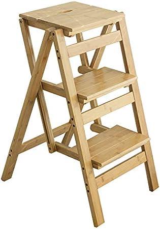 Escaleras Plegable Pliegue Los Escalones De La Biblioteca Escalera Silla Cocina Oficina Uso Color Bambú Natural - 3 Capas, con Tapete Antideslizante: Amazon.es: Hogar