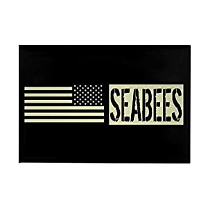 "CafePress U.S. Navy: Seabees (Black Flag) Rectangle Magnet, 2""x3"" Refrigerator Magnet by CafePress"