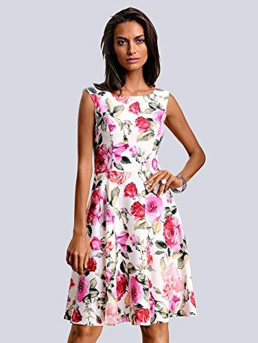 White Sommerlichem Alba Damen Moda In Blumenprint Weiß Druckkleid 5qwXzwxC6