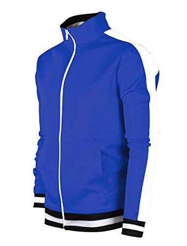 (SCREENSHOTBRAND-51700 Mens Urban Hip Hop Premium Track Jacket - Slim Fit Side Taping Basic-Royal-Medium)