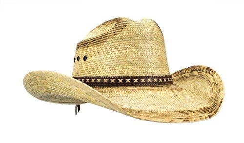 Rising Phoenix Industries Large Mexican Palm Leaf Cowboy Hat Sombreros Vaqueros de Palma de Hombre, Flex Fit (Burnt Stain)