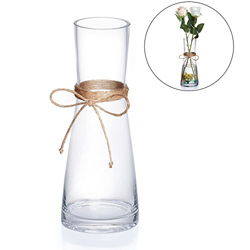 Tall Glass Vases, Decorative Flower Vases with Rope for Living Room, Kitchen, Table, Home, Office, Centerpiece, Wedding, Party or as a ()