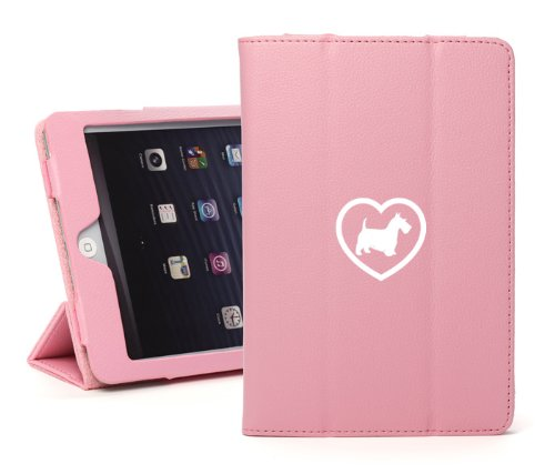 For Apple iPad Air Pink Leather Magnetic Smart Case Cover Stand Scottie Heart ()