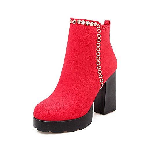 AllhqFashion Damen Hoher Absatz PU Eingelegt Knöchel Hohe Stiefel mit Metalldekoration, Rot, 33