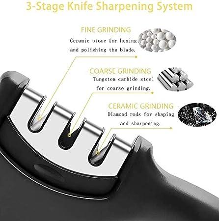 Afiladores de Cuchillos Manuales Profesional 3 etapas Herramienta de Afilado de Cuchillos de Cocina Base de Goma Antideslizante Acero de Tungsteno y Varilla de Cerámica para Tijeras