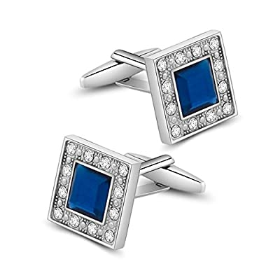 MERIT OCEAN Blue Navy Swarovski Crystal Square Cufflinks for Men Classical Swarovski Cuff Links with Gift Box Elegant Style