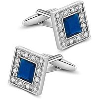Merit Ocean Blue Navy Swarovski Crystal Square Cufflinks for Men Classical Swarovski Cuff Links with Gift Box Elegant Style