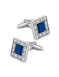 Merit Ocean Classical Swarovski Crystal Square Cufflinks for Men Blue Glass with Gift Box Elegant Style