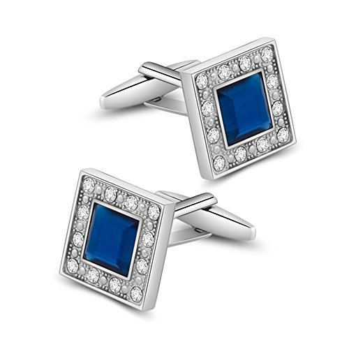 Colored Mens Cufflinks - MERIT OCEAN Blue Navy Swarovski Crystal Square Cufflinks for Men Classical Swarovski Cuff Links with Gift Box Elegant Style
