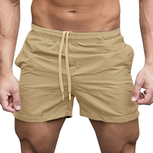 terbklf Men Gym Quick Dry Swim Trunks Beach Sports Jogging Elasticated Waist Shorts Drawstring Pants Trousers with Pockets Khaki