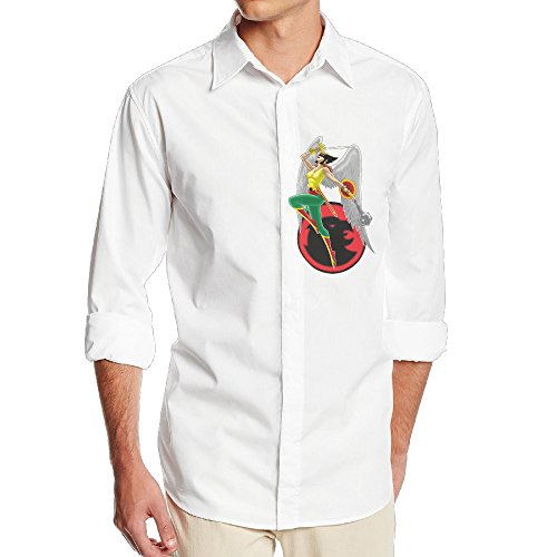 Hawkgirl Mask (Hawkgirl Superhero 2 NF18G Men's Fashion Long Sleeve Dress Shirt - SizeXL White)