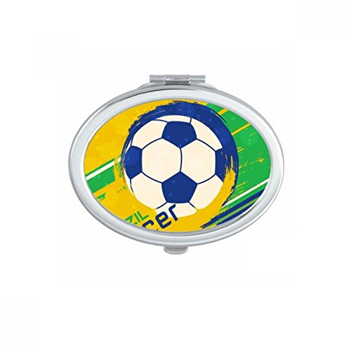 DIYthinker Brazil Soccer Football Sports Oval Compact Makeup Pocket Mirror Portable Cute Small Hand Mirrors Gift by DIYthinker