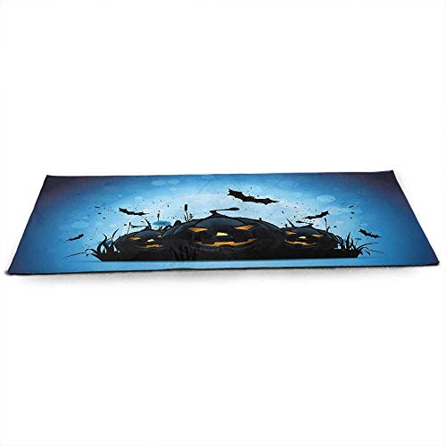 funkky Halloween Fitness Yoga Mat Scary Pumpkins in Grass with Bats Full Moon Traditional Composition at Home or Outdoors Anywhere W24 x L70 Black Yellow Sky -