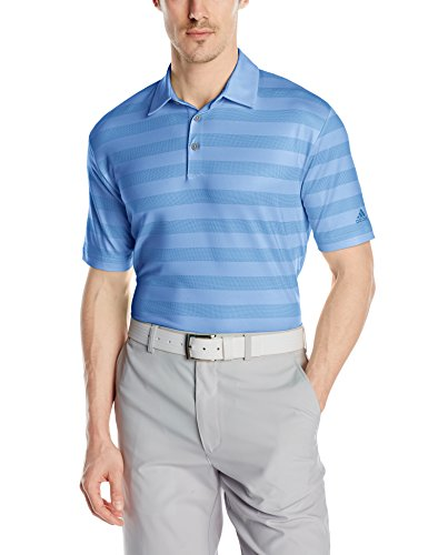 adidas Golf Men's Climacool Birdseye Graphic Stripe Polo Shirt, Lucky Blue/Bahia Blue/Bahia Blue, X-Large Birdseye Stripe Polo