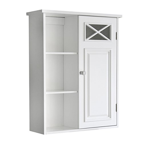 Elegant Home Fashions Dawson Collection Shelved Wall Cabinet with Storage Cubbies, White - smallkitchenideas.us