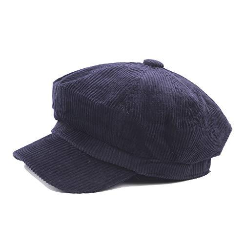 SXBag 2019 Beret Cap Autumn and Winter Wool Ladies Cotton Octagonal Cap Men's Painter Hat Newspaper Boy Cap Art Retro` (Color : Navy Blue, Size : 56-58CM) ()