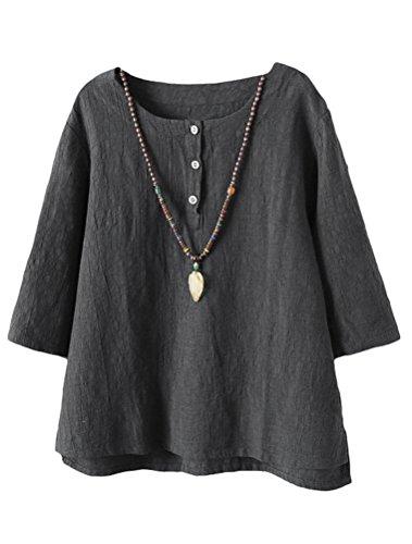 Cy011 Tops 2017 Gris Jacquard Camiseta Túnicas Lino Vogstyle Mujer De Algodón ZgzHHq