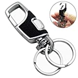 Lancher Key Chain with (2 Extra Key Rings and Gift Box) Heavy Duty Car Keychain for Men and Women - Black