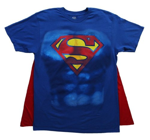 Blue Lantern Flash Costume (DC Comics Superman Muscle and Cape Costume T-shirt X-Large/Blue)