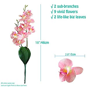 "cn-Knight Artificial Flower 3pcs 18"" Real Touch Butterfly Orchid with Leaves Gel Coated Lifelike Phalaenopsis Moth Orchid for Wedding Home Office Décor Baby Shower Party Centerpieces(Pink) 2"