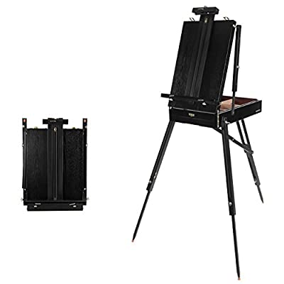 Easels Black Folding Stand Beech Wood Sketchpad Hand-held Sketch Oil Painting Tools Box Artist Sketching Drawing Tripod Display Stand - High 184cm