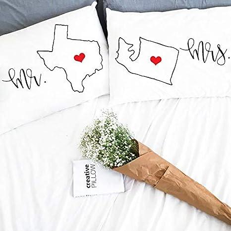 prz0vprz0 V Pack of 2 Long Distance rela Relaciones Boyfriend Gift Pillow Case 12 x 20 Inch Love Girlfriend ...