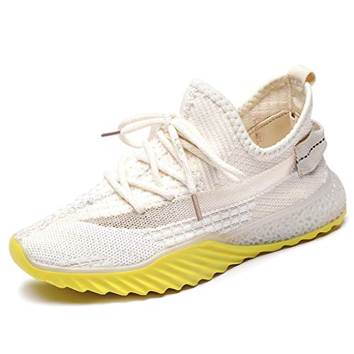 WENSY Summer Women's Casual Outdoor Casual Shoes Fly Woven Breathable Mesh Women's Shoes Wild Sports Running Shoes(Beige,36) (Rhinestone Mesh Runner)