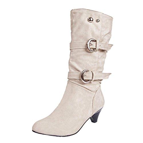 Caldo Snow Elegante Stivali Invernali Boots Superficie Beige Scarpe Martin Yiiquan Donna Morbida Cqwafz