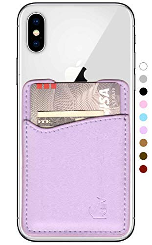 Lavender Block Mist - Leather Phone Card Holder Stick On Wallet for iPhone and Android Smartphones by Wallaroo (Lavender Pink)