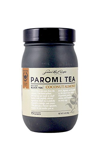 PAROMI TEA Coconut Almond Tea, Full-Leaf, 15-Count Tea Sachets, 1.6 oz Bottle