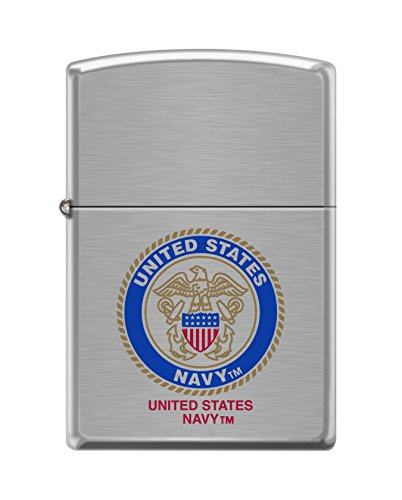Zippo US Navy Brushed Chrome Pocket Lighter
