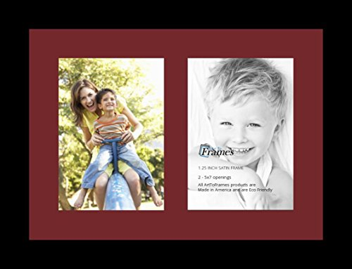 ArtToFrames Collage Photo Frame Single Mat with 2-5x7 Openings with Satin Black Frame and Maple Leaf ()