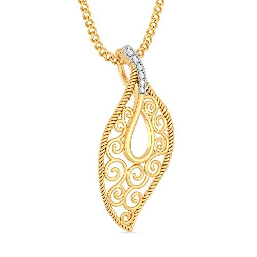 Or jaune 18K 0,05CT TW Round-cut-diamond (IJ | SI) Pendentif