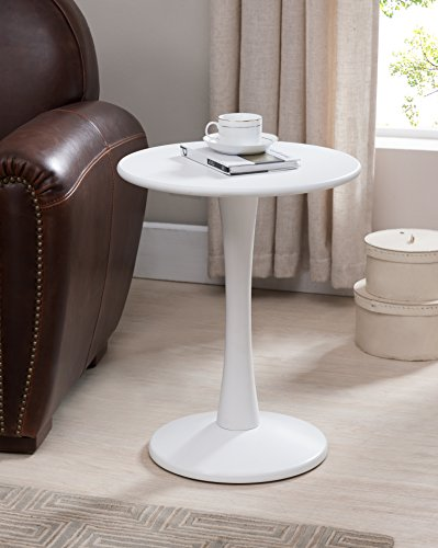 Kings Brand Furniture White Finish Wood Round Plant Side Accent End Table (Plant Table End Round)