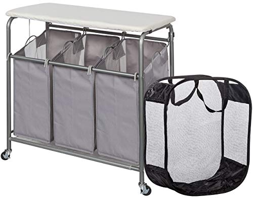 Combo Laundry Center - STORAGE MANIAC Laundry Sorter with Ironing Board 3-Section Heavy-Duty Rolling Laundry Cart with Free Laundry Hamper, Grey