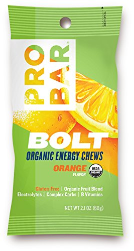 PROBAR – BOLT Organic Energy Chews – Orange – USDA Organic, Gluten-Free, Superfruit Blend, Electrolytes, B Vitamins – Pack of 12