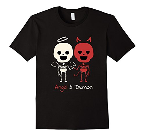 (Mens Creepy Cute Angel & Devil Skeletons Couples TShirt XL Black)