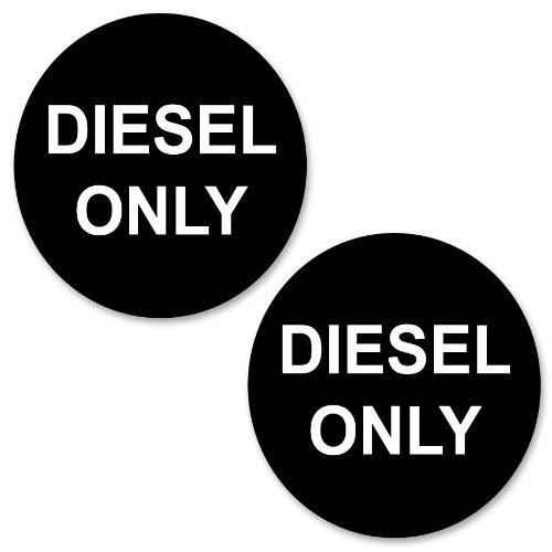 Pack of 2 Car or Van Round Fuel Reminder Decals Diesel Only 50mm Stickers