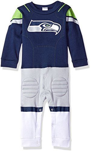 (NFL Seattle Seahawks Unisex-Baby Footysuit Coverall, Navy, 12 Months)