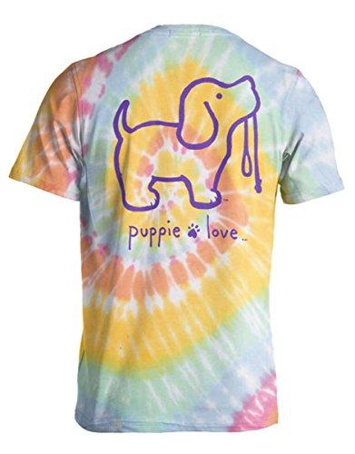 (Puppie Love Tie Dye Pup 2 Pastels Help Rescue Dogs T-Shirt-XL )
