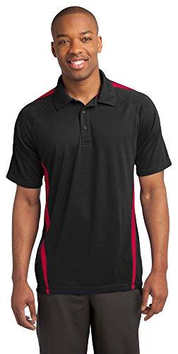 Colorblock Mesh Polo - Sport-Tek Mens PosiCharge Micro-Mesh Colorblock Polo, Medium, Black/ Red